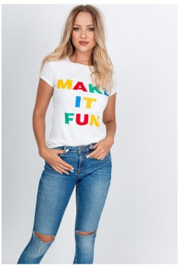 Biały T-shirt napis make it fun
