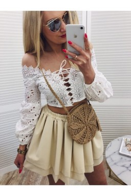 AŻUROWY TOP Boho White