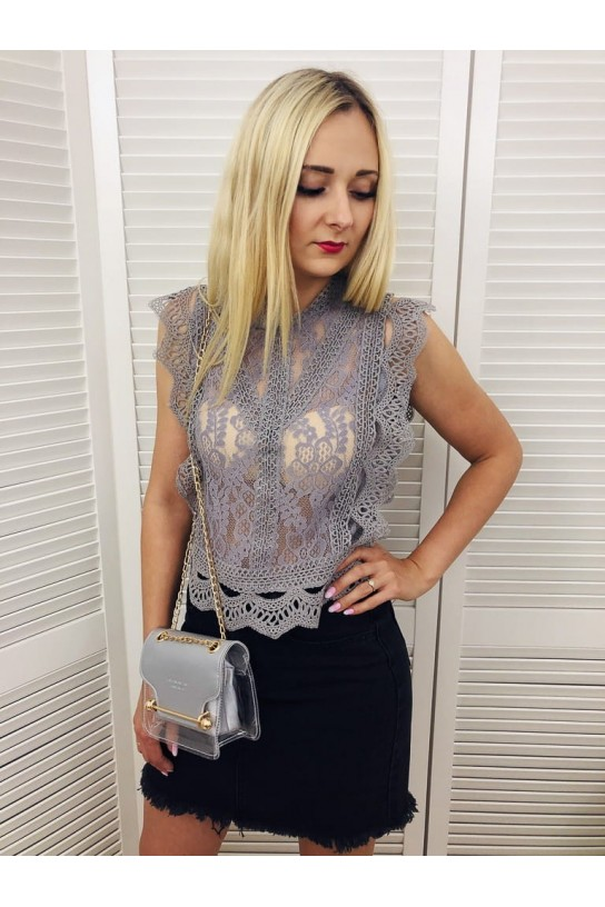 Koronkowy Top LACE Szary