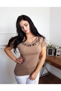 T-SHIRT BLUZKA IN FASHION BEIGE CAMEL
