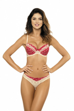 Biustonosz push up Biustonosz Push-up Model Nadia B1 Red/Cream - Gorteks