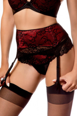 Gorsety, body, pasy Pas do pończoch CATHERINE Black/Red - PariPari Lingerie